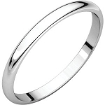 14KT Gold Thin 2mm Half Round Light Wedding Band