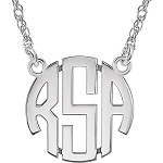 3 Letter Block Circle Monogram Necklace (15mm Small Size)