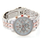 Women's Fancy Glitz Style Two Tone Chronograph Mid Sized Watch