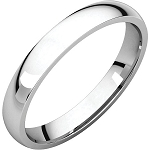 14KT White Gold 3mm Light Comfort Fit Wedding Band