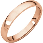 14KT Rose Gold 3mm Light Comfort Fit Wedding Band
