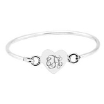 Sterling Silver Engravable Heart Bangle Bracelet for Infant or Toddler