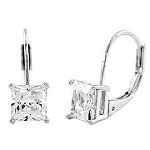 Sterling Silver Princess Cut Lever Back Earrings