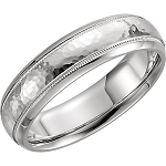 14KT White Gold Half Round Comfort Fit Milgrain Hammer Finish Wedding Band