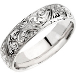 14KT White Gold Hand Engraved Scroll Design Band Ring
