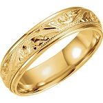 14KT Yellow Gold Hand Engraved Scroll Design Band Ring