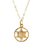 14kt Yellow Gold Child Youth Star of David Necklace