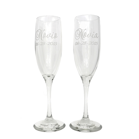 2 personalized wedding party gift etched engraved tall champagne