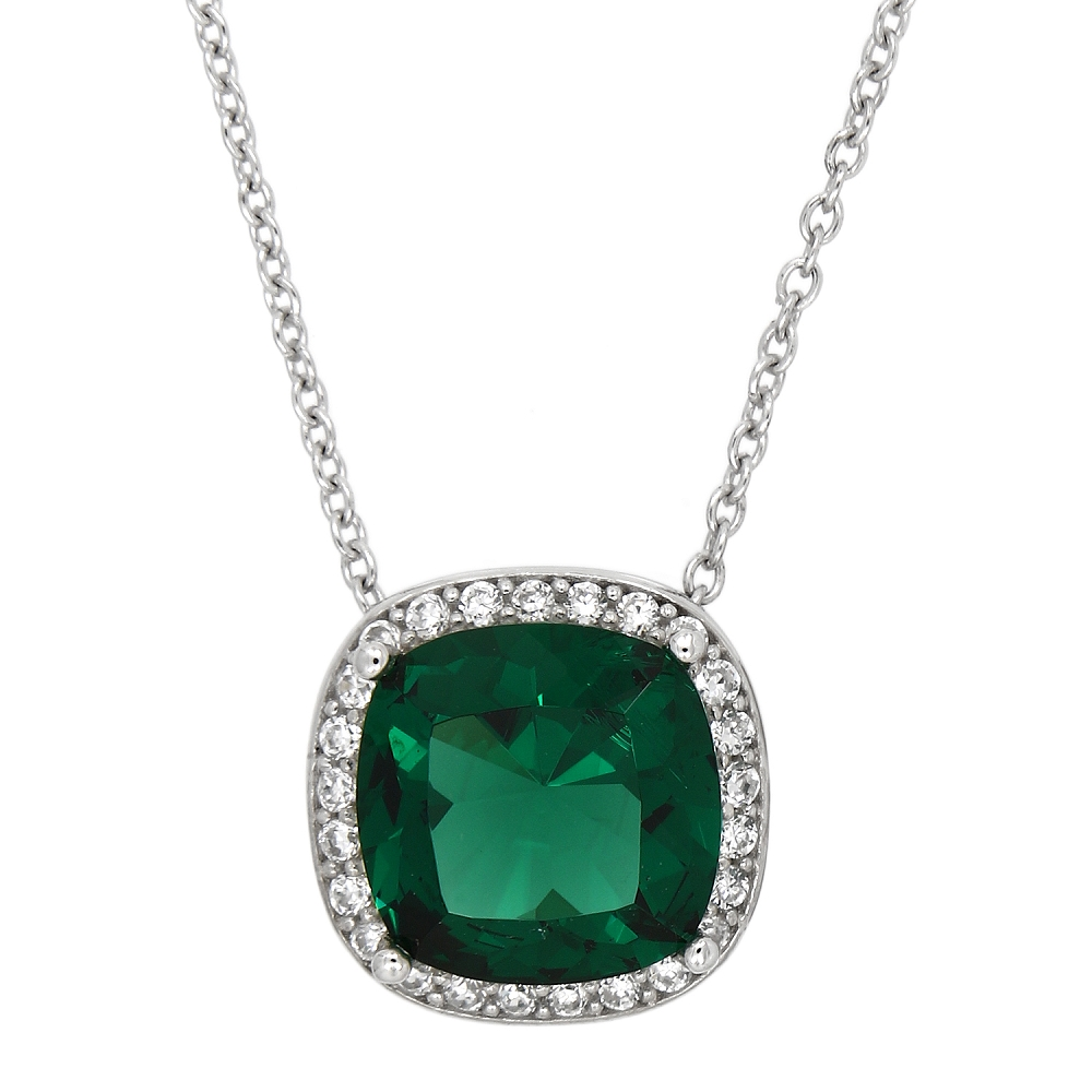 9ee5fac875934 Sterling Silver Bezel Set Cushion Cut Green Cubic Zirconia Halo Pendant  Necklace
