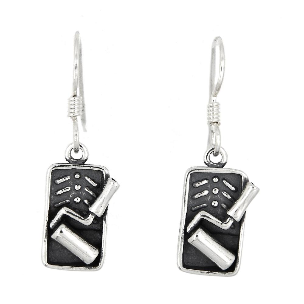 sterling silver paint roller earrings