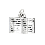 LGU® Sterling Silver Oxidized Open Book Charm Total 12 pcs