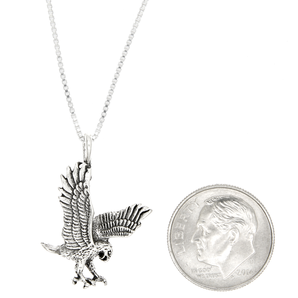 Sterling silver eagle landing eagle charm with box chain necklace quick view mozeypictures Gallery