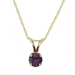 14kt Yellow Gold Round Shaped 1/3cttw Amethyst Solitaire Necklace