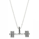Sterling Silver Weightlifting Straight Barbell Charm with Box Chain Necklace