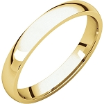 14KT Yellow Gold 3mm Light Comfort Fit Wedding Band