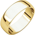 14KTGold 6mm Half Round Light Weight Wedding Band Wedding Ring