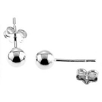 Sterling Silver Round Ball Stud Earrings