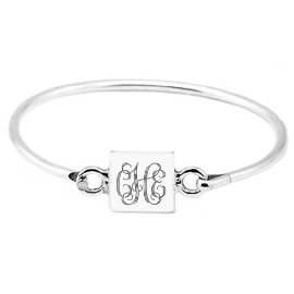 Monogram Baby Shower Gift Baby Girl Square Baby Bangle Sterling Silver Baby Jewelry Personalized Jewelery Engravable Bracelet