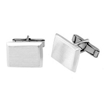 Sterling Silver Brushed Rectangle Shape Personalize Engravable Solid Cufflinks