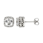 Sterling Silver Small Accented Halo Style Cubic Zirconia Asscher and Round Cut Earrings