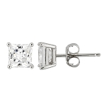 Sterling Silver Cubic Zirconia Solitarie Stud Princess Cut Earrings