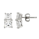 Sterling Silver Cubic Zirconia Double Stacked Princess Cut Earrings