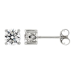 Sterling Silver Cubic Zirconia Solitarie Stud Round Cut Earrings