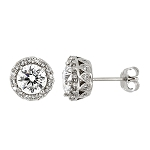 Sterling Silver Round Cubic Zirconia Accented Halo Earrings