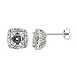 Sterling Silver Cubic Zirconia Asscher and Round Cut Basket set Stud Earrings