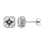 Sterling Silver Cubic Zirconia Asscher and Round Cut Basket set Rounded Corner Stud Earrings
