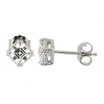 Sterling Silver Cubic Zirconia Rope Trim Asscher Cut Earrings