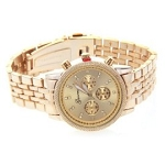 Women's Fancy Glitz Style Gold Tone Chronograph Mid Sized Watch