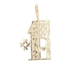 10kt Gold One Sided Number One #1 Godmother Charm