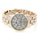 Women's Fancy Boyfriend Style Gold Tone Chronograph Watch