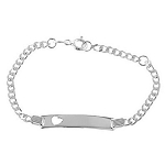 Sterling Silver Heart Cut Out Engravable Monogrammed Name Plate Child Bracelet