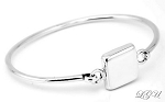 Sterling Silver Personalize Engravable Puff Square Bangle Bracelet