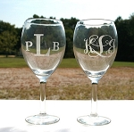 Total 2 of Housewarming or Wedding Party Glass Gift Etched Personalized 19.5 oz. Large Vino Wine Glasses