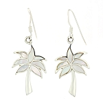 Sterling Silver Mother of Pearl Inlay Palm Tree Earrings
