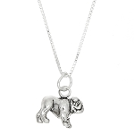 Sterling Silver Large Bulldog Charm with Box Chain Necklace