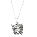 Sterling Silver One Sided Bobcat Head Necklace