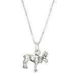Sterling Silver Three Dimensional Small Moose Elk Necklace