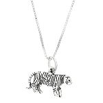 Sterling Silver Three Dimensional Tiger Necklace