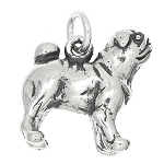 Silver 3d Chinese Pug Dog Traditional Charm