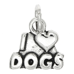 Sterling Silver One Sided I Love Dogs Charm