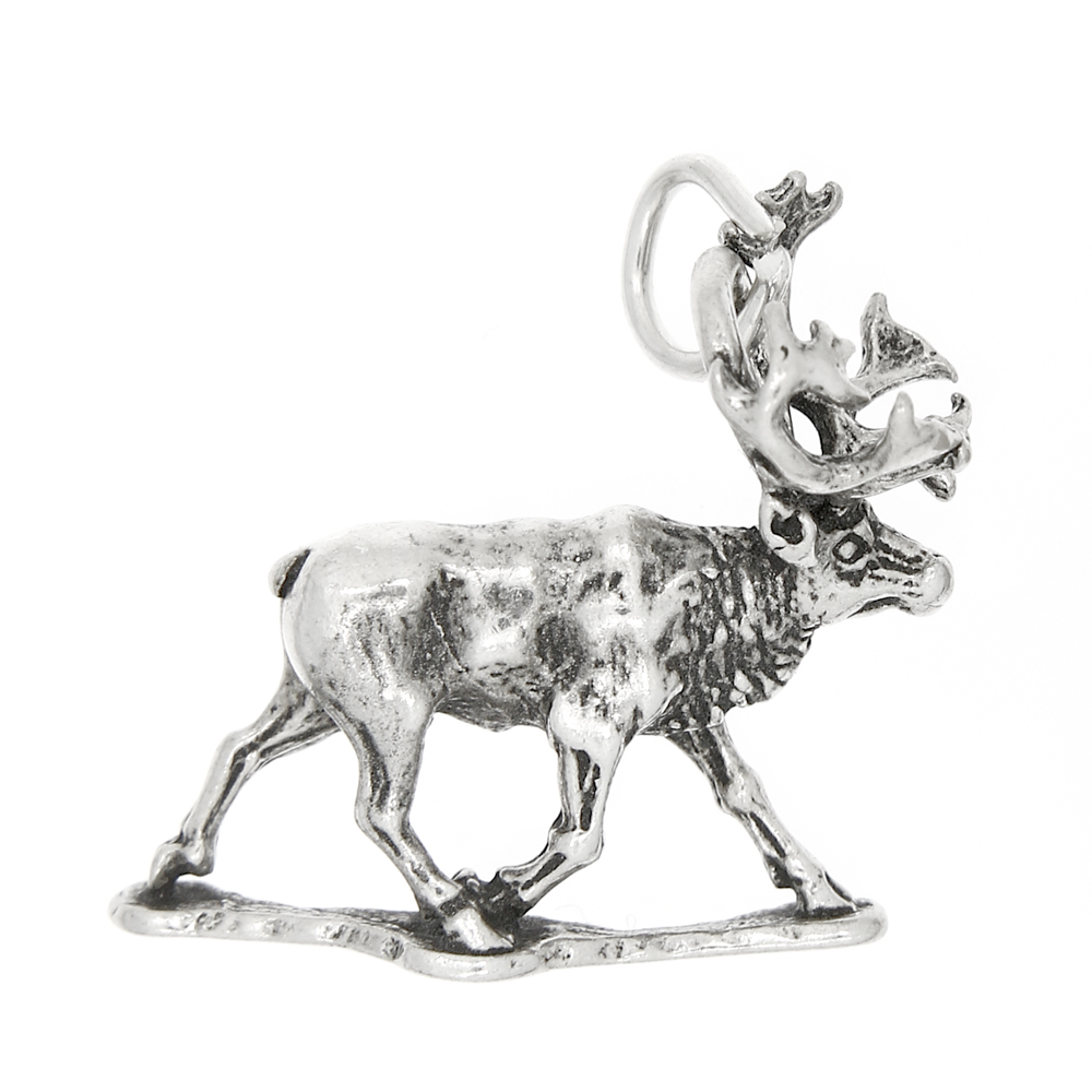Sterling Silver 3D Small Walking Bull Moose Charm
