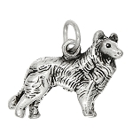 Sterling Silver Three Dimensional Collie Dog Charm
