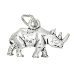 Sterling Silver 3D Walking Rhinoceros Charm