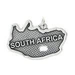 Sterling Silver Textured Country Map of South Africa Charm