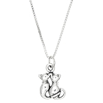 Sterling Silver Two Cats with Intertwined Tails Charm with Box Chain Necklace