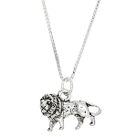 Sterling Silver Lion Charm with Box Chain Necklace
